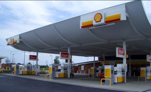 Shell petrol forecourt in England