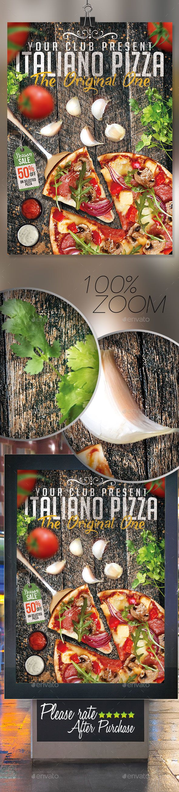 Italian #pizza vol2 flyer template  - #Restaurant #Flyers Download here: https://graphicriver.net/item/italian-pizza-vol2-flyer-template-/16724926?ref=alena994
