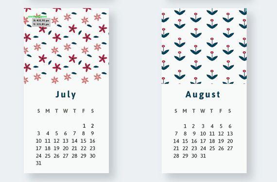2016 monthly calendar printable, Flower Wall Calendar, A4 wall calendar