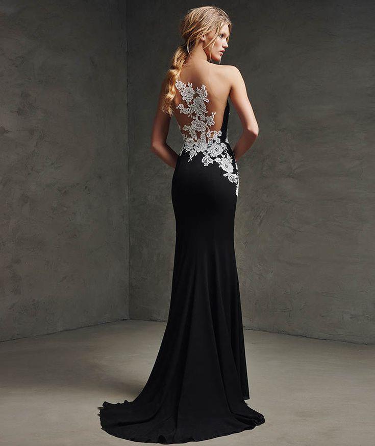 LAINA - Vestido de festa em renda e preto