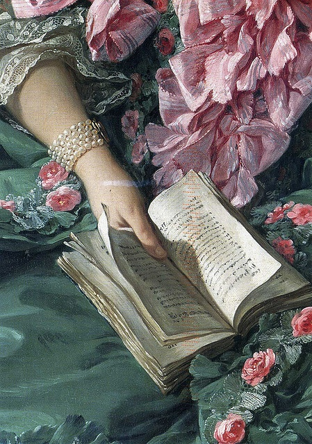 detail from a portrait of Madame de Pompadour by Francois Boucher.
