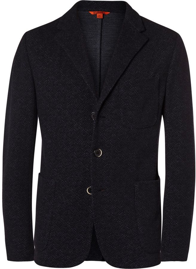 Barena Blue Torceo Slim-Fit Unstructured Wool and Cotton-Blend Blazer