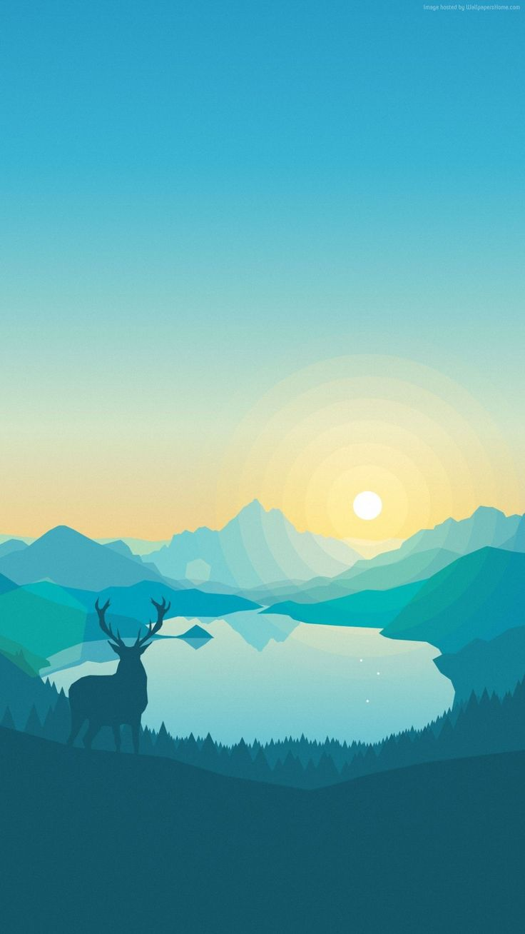 Blue, apple, animation, deer, lake, wallpaper, iPhone, clean, beauty, colour, iOS, minimal, iPhone 7