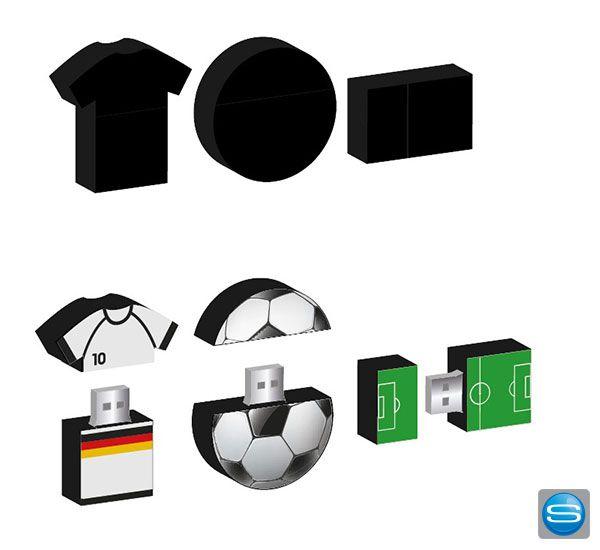 USB Speichersticks im individuellen Fußball-Design - ein ideales Männergeschenk. Wählen Sie aus 3 verschiedenen 2D Formen (Kreis, Trikot, Rechteck) und lassen Sie Ihr persönliches Motiv aufdrucken. Der Stick hat eine Speicherkapazität von 4GB und ist ein tolles Give Away zur Fußball-Saison.
