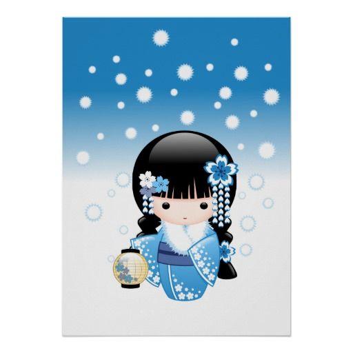 Boneca japonesa de Kokeshi do inverno Pôsteres