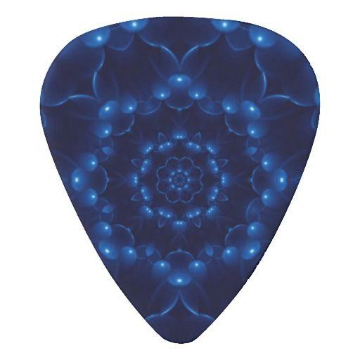 Electric Blue Kaleidoscope Mandala Guitar Pick By KittyBitty