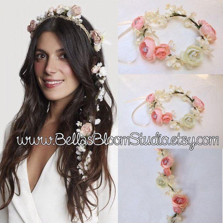Hair Garland Flower crown Bridal Bun wrap Bridal Headpiece Flower Hair Garland Bridal flower crown Wedding Hair Flowers Head Wreath Etsy by BellasBloomStudio on Etsy