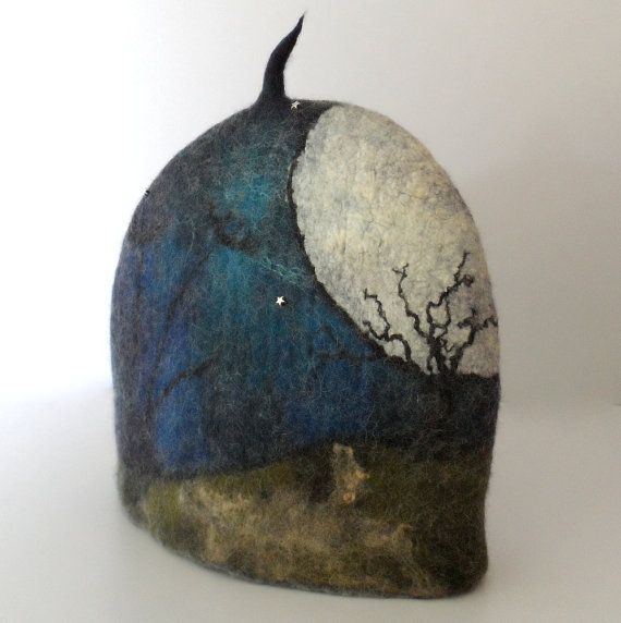 Felted Tea Cozy The Moonlit Tree teapot cosy by feltersjourney