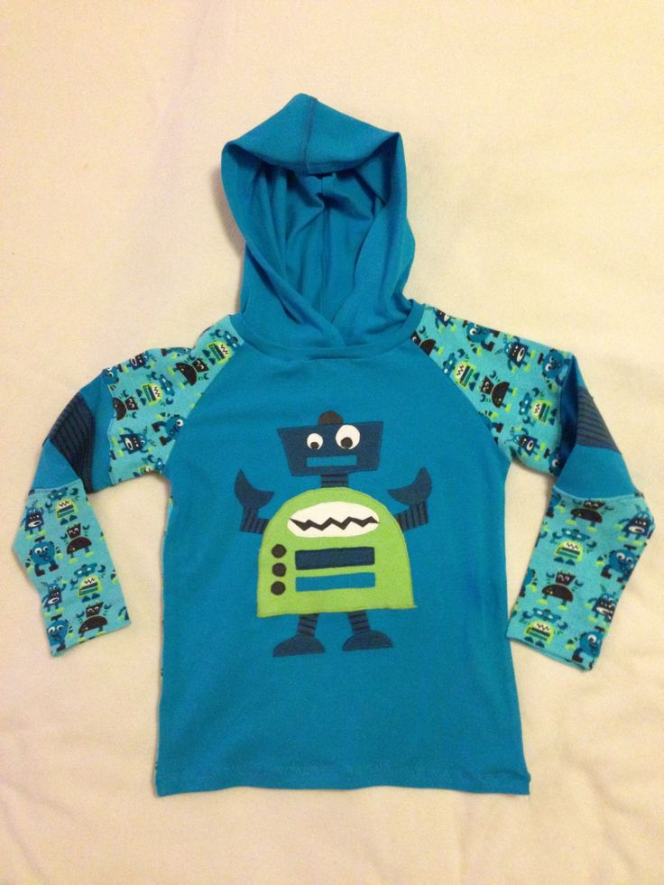Boy's hoodie with robot applique #sewingforboys