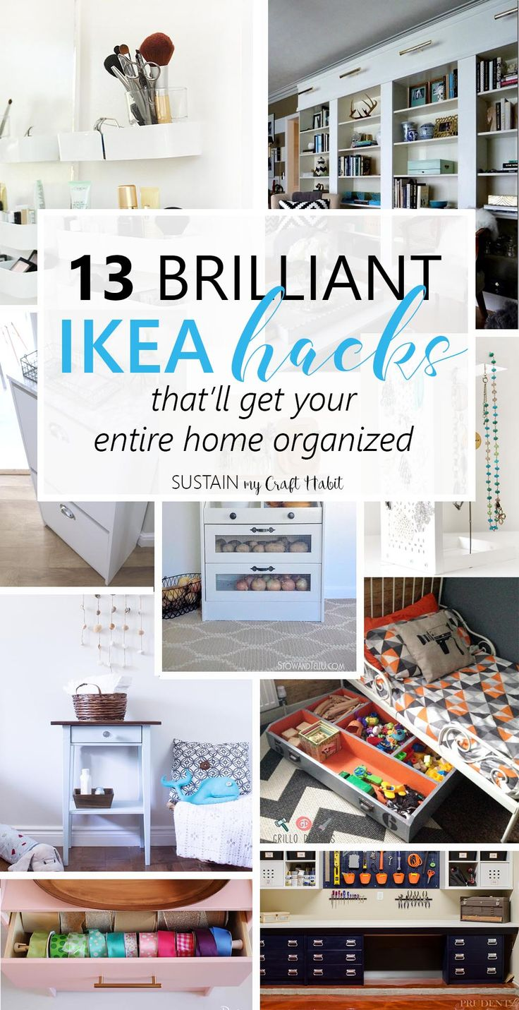 IKEA hack collection of 13 brilliant home organization ideas! There's a DIY idea to try in every room of your home.