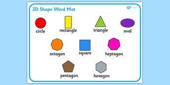 2D Shape Word Mat - Word mat, writing aid, 2D Shape names, Shape Flashcards, Shape Pictures ...