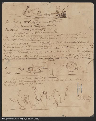 Edward Lear, Manuscript of 'The Owl and the Pussy-cat', 19 October 1868. MS Typ 55.14 (155) © Houghton Library, Harvard College Library