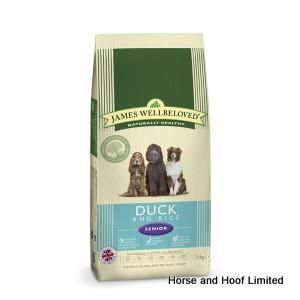 James Wellbeloved Duck Rice Senior Dog Food 15kg James Wellbeloved Duck Rice Senior Dog Food is a naturally hypoallergenic dog food that has been enriched with readily available vitamins & minerals.
