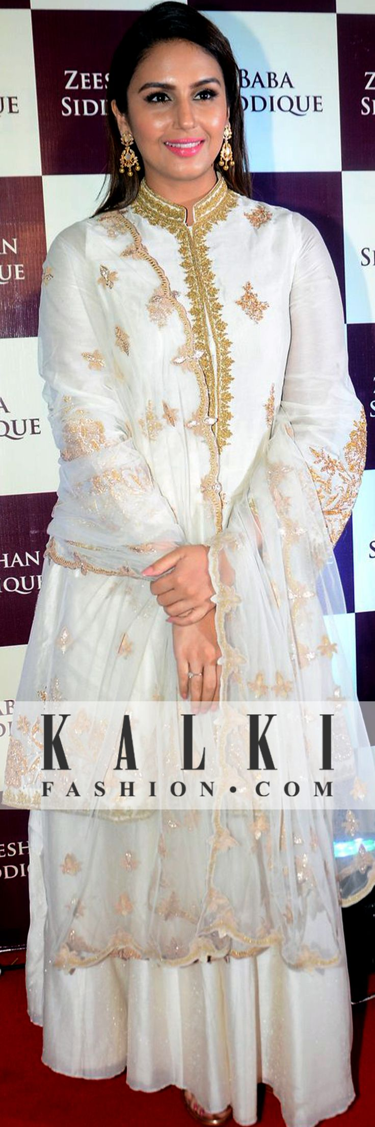 Huma Qureshi was seen dressed in an off white palazzo set with golden intricate work and a net dupatta