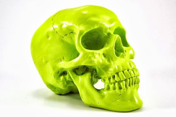 Neon Green Skull Lime Green Decor Bright Green Neon door TinyPop, $25.00
