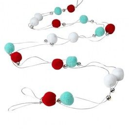 Red, white and pale blue pompoms on silver cord.