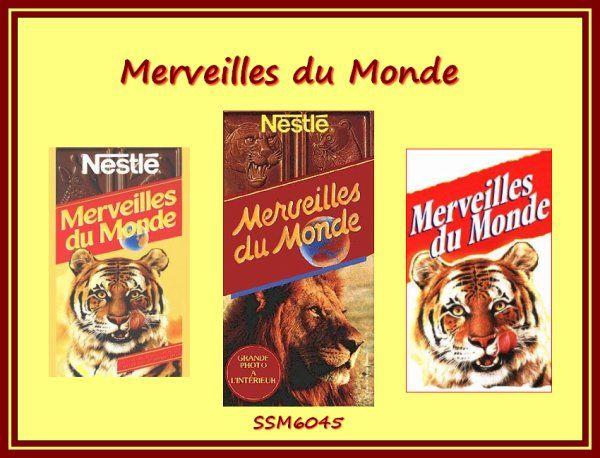 Chocolat Merveilles du Monde de Nestlé - avec des images d'animaux en cadeau! - années 80