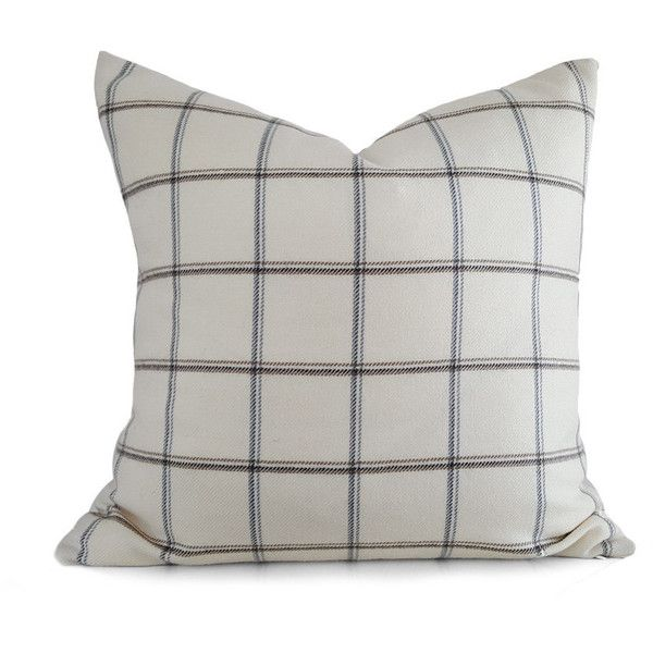 Cream Plaid Pillow Cover Neutral Cushion Covers Cream Grey Pillows... ($38) ❤ liked on Polyvore featuring home, home decor, throw pillows, decorative pillows, home & living, home décor, silver, gray throw pillows, winter throw pillows and holiday throw pillows