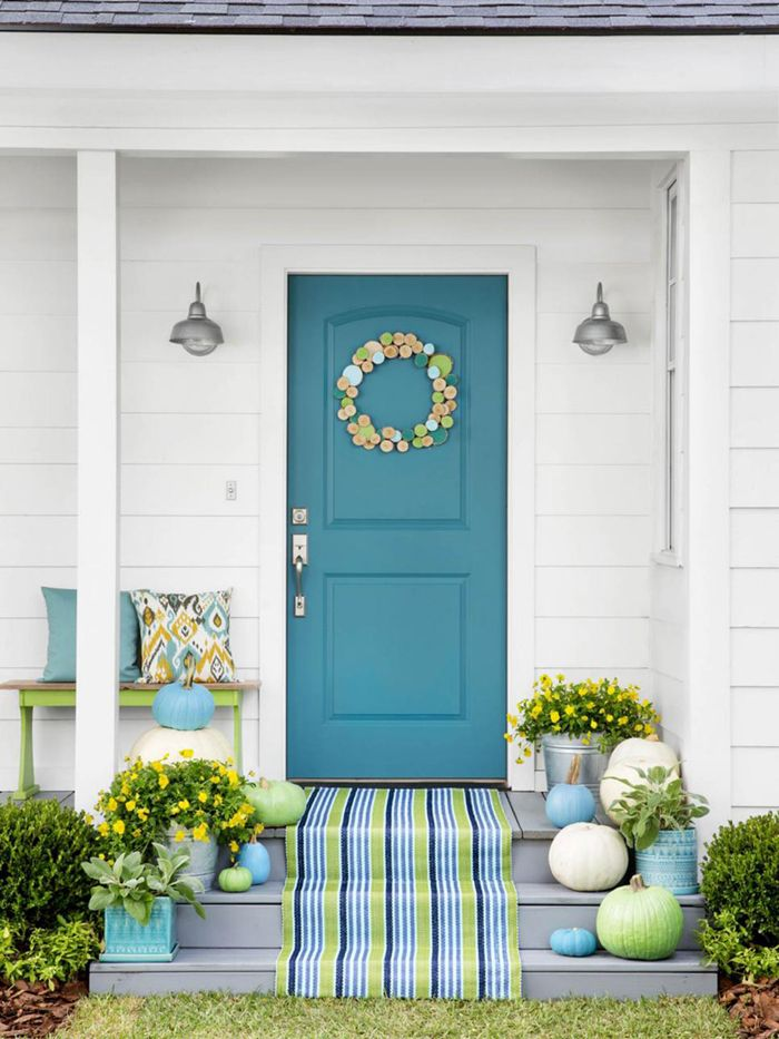 turquoise and lime green fall porch