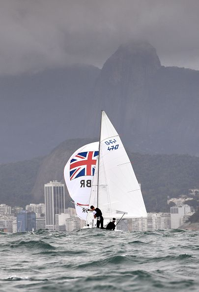 #RIO2016 Great Britain's 470 crew of Luke Patience and Chris Grube sail their boat towards Copacabana Beach during a training session on Rio de Janeiro's...
