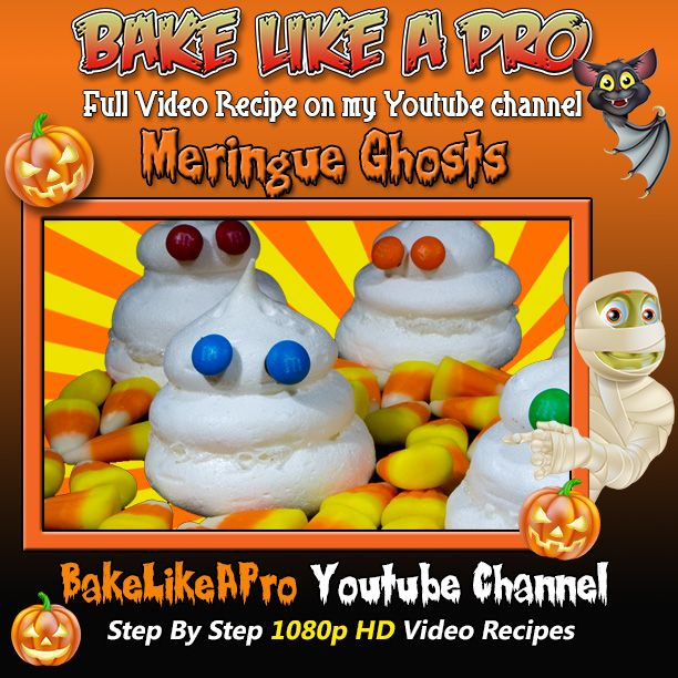 """Halloween Meringue Ghosts Recipe ! Please SUBSCRIBE: ► http://bit.ly/1ucapVH   Please subscribe, like and share if you can, I do appreciate it. ► http://bit.ly/1ucapVH  Are you a mobile user ? Here is the clickable link to the video recipe preview you saw at the end of this video: Homemade Halloween """"Oreo"""" Style Cookies Recipe ! ► http://youtu.be/ucfWeP-nvTw  My Facebook Page: http://www.facebook.com/BakeLikeAPro"""