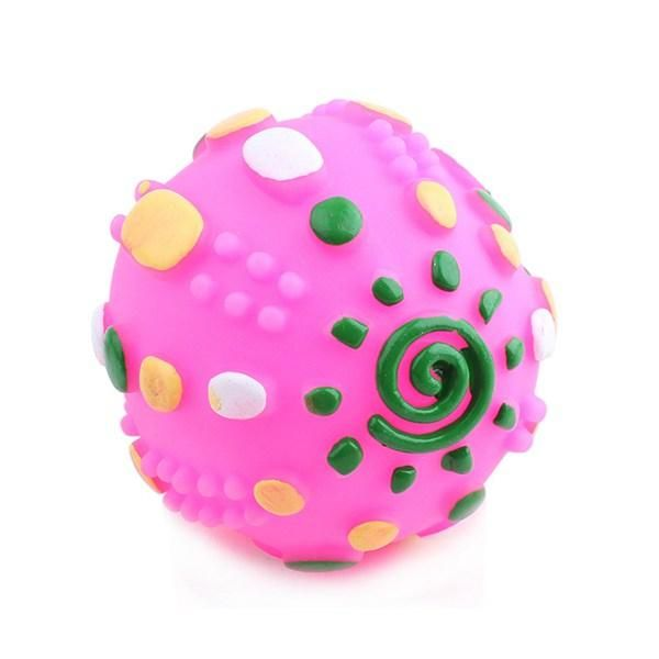 Cat Sound Toys Rotomolded Pvc Colorful Ball Cute Dog Cat Interesting Toy Diameter 7cm