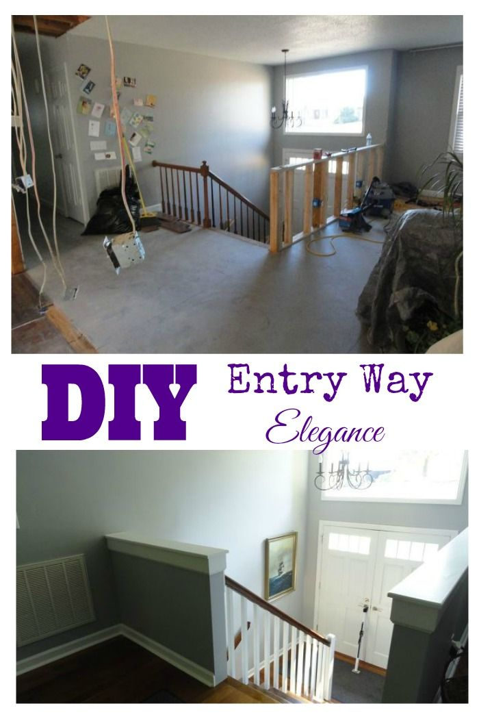 The foyer of a basic split entry was transformed into an elegant entry way with a few changes