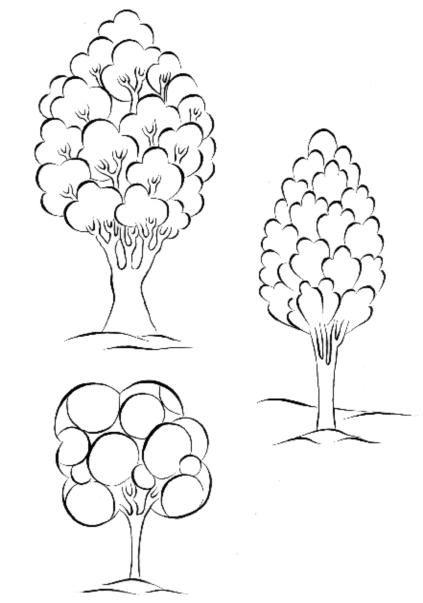 Cahide Keskiner - Minyatür Sanatında Doğa Çizim ve Boyama Teknikleri Ağaç üzerinde kümeleme ve bunların boyanmaya uygun çizimleri