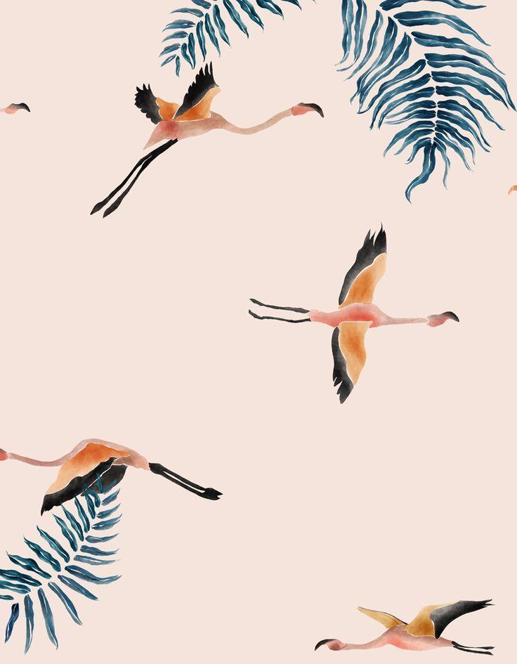 Crane pattern in blush pink.