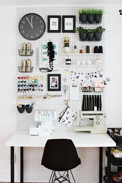Clever ideas for decorating small offices, including floating shelves, wall-mounted desks, and making use of awkward corners.