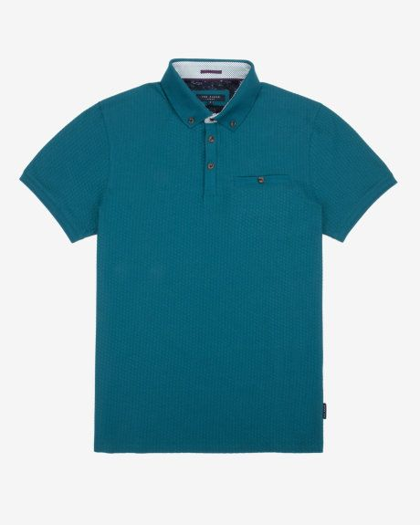 Geo textured polo shirt - Turquoise | Tops & T-shirts | Ted Baker