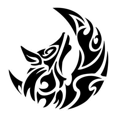 tatuaggio gatto con luna tribale