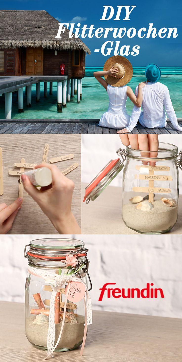 Geldgeschenk zur Hochzeit mal anders: Flitterwochen-Glas