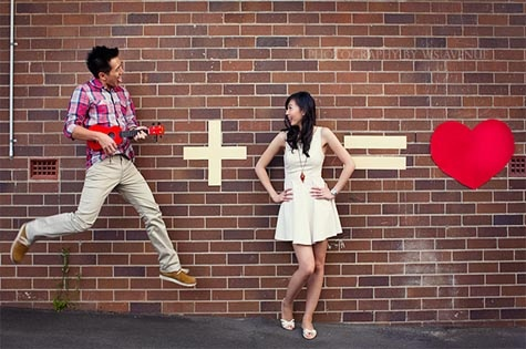 'You plus Me means Love' – engagement photo