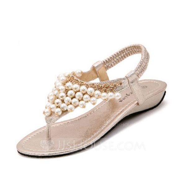 Women's Sandals Wedge Heel Leatherette Imitation Pearl Sandals
