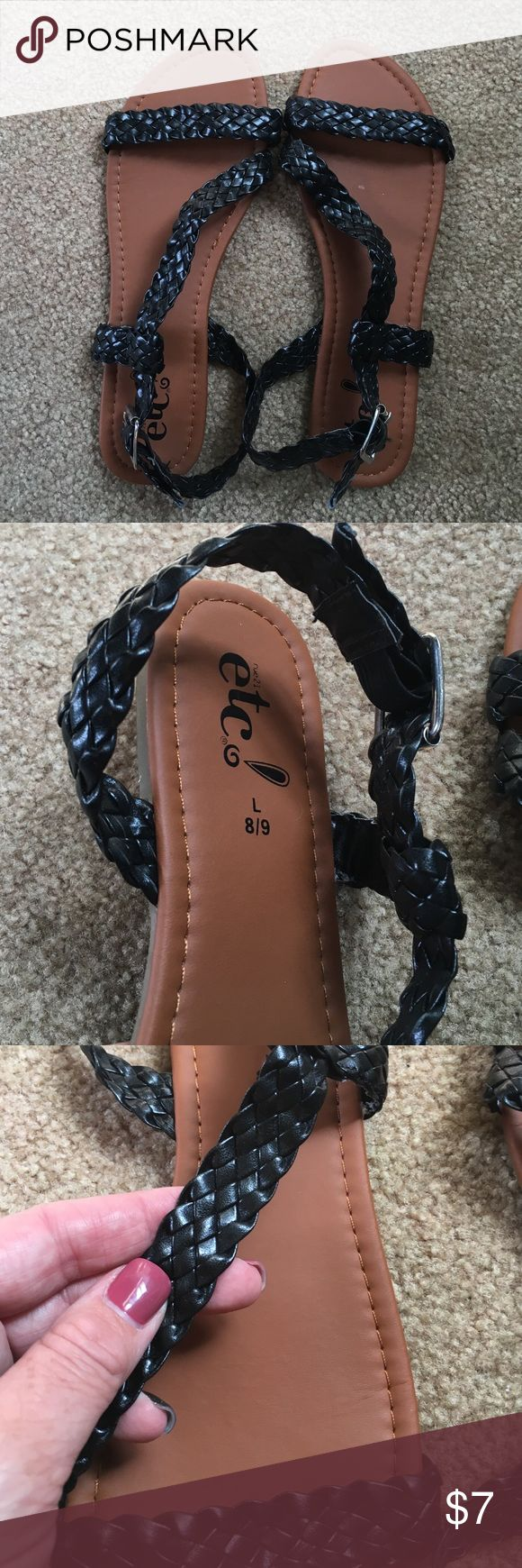 Black braided sandals Worn once, black braided sandals Shoes Sandals