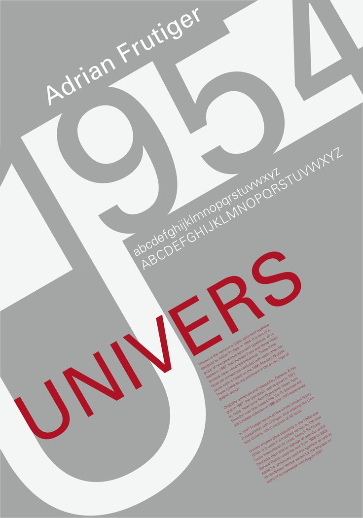 Univers - Poster by HiddenMutation Univers is a realist sans-serif typeface designed by Adrian Frutiger in 1954. Univers is one of a group of neo-grotesque sans-serif typefaces, all released in 1957,[2] that includes Folio and Neue Haas Grotesk (later renamed Helvetica). These three faces are sometimes confused with each other, because each is based on the 1898 typeface Akzidenz-Grotesk. These typefaces figure prominently in the Swiss Style of graphic design.