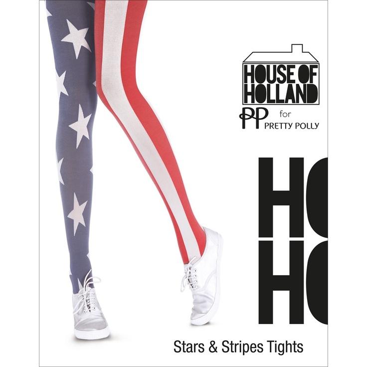 House of Holland tights. De House of Holland Stars and Stripes Panty is een heerlijke urban creatie van topdesigner Henry Holland. Op het ene been zijn witte sterren tegen een blauwe achtergrond afgedrukt en het andere been is rood-wit gestreept. En samen maken ze de Amerikaanse vlag! Cool maar vooral ook erg mooi, zoals wij inmiddels wel van Henry Holland gewend zijn. Draag deze funky panty met een paar witte gympen en een casual t-shirt. Deze panty is ook verkrijgbaar met de Engelse vlag.