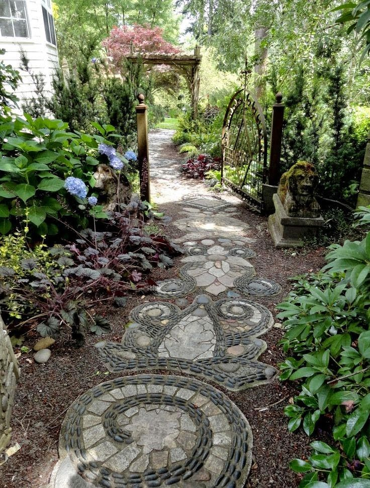 282 best images about landscaping mosaic ideas on for Pebble garden designs