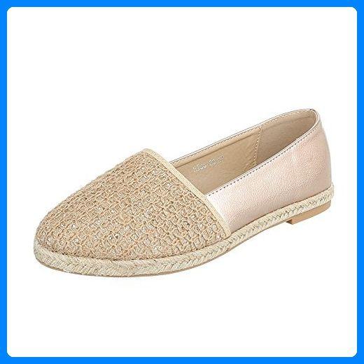 Slipper Damen-Schuhe Low-Top Blockabsatz Moderne Ital-Design Halbschuhe Beige Gold, Gr 40, Hj88-28- - Slipper und mokassins für frauen (*Partner-Link)