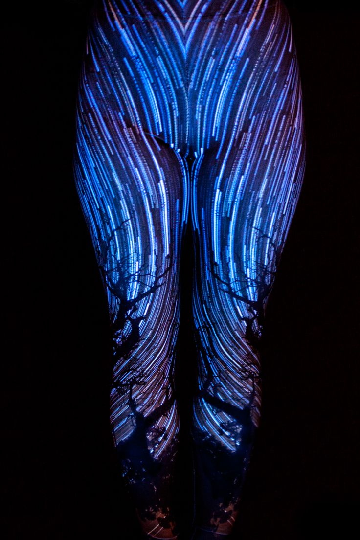 """""""Star Spin"""" Blacklight Reactive Leggings - 70$ Free Shipping to Canada & USA Ethically Made in Canada."""