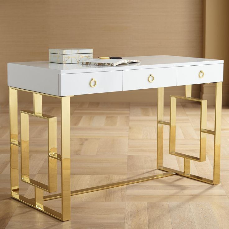 Baccarat 47 Inch Wide White Lacquer And Gold Writing Desk