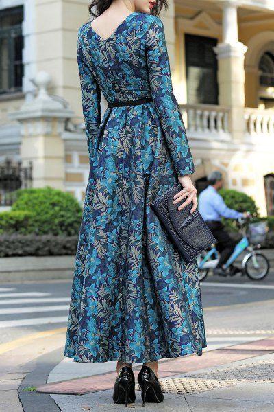 Long Sleeve Jacquard Maxi Dress - BLUE AND GREEN S