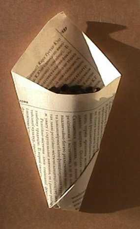 Folding a Paper Container ~I remember my nan folding cones like this when I was little and she was Yorkshire born and bred!  The writing style's a bit dry, but the cones are great ;0) ~  #paper  #bags  #boxes