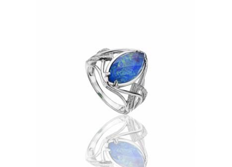 STERLING SILVER OPAL, QUARTZ AND DIAMOND RING
