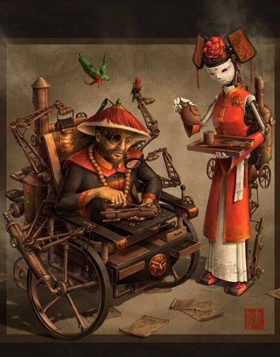 Imperial Inventor Chinese Steampunk Print by by JeffersonTrader, $25.00