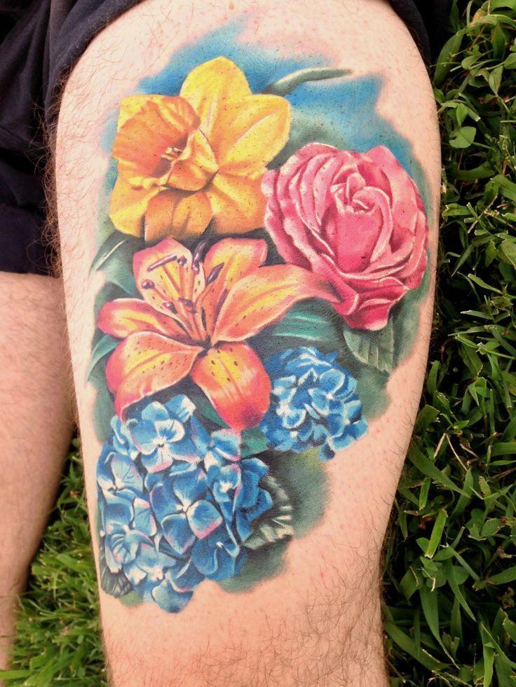 hydrangea tattoo daffodil tattoo tattoo flowers marigold tattoo ...