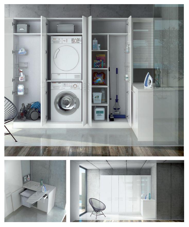 ¿Necesitas una zona de lavado y plancha en casa? Te proponemos una solución completa. #muebles #cocina #diseño #kitchen #design #LivingKitchen #cocinasConCorazón