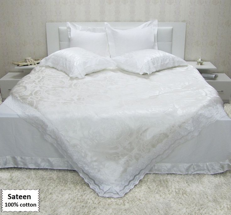 White Duvet Cover Queen King Sizes, Sateen White Bedding Set Queen King Sizes 6 or 7 Pieces