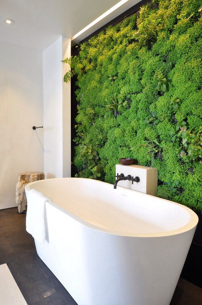 Ok that moss wall is cool over by the tub